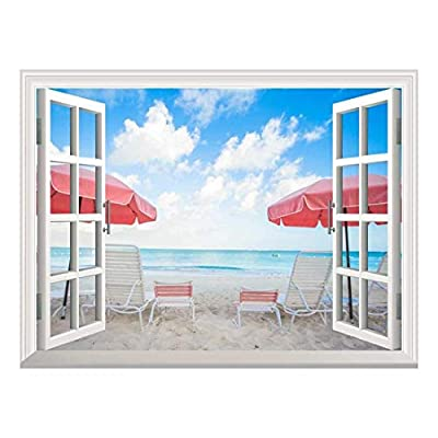 Removable Wall Sticker/Wall Mural - Two Chairs and Umbrellas on Stunning Tropical Beach | Creative Window View Home Decor/Wall Decor - 36