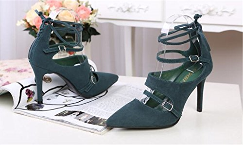 Makegsi Womens Unique Cross Bandage Lace Up A Punta Tacco Alto Tacchi A Spillo Sandali Gladiatore Plus Size Verde