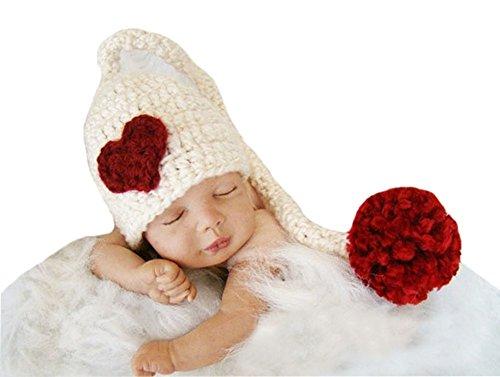 CX-Queen Baby Photography Prop Crochet Long Tail Elf Heart Newbow Hat (Elf Costumes For Babies)