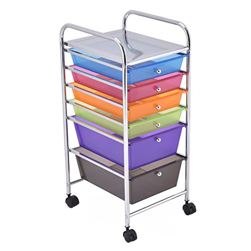 Giantex 6 Drawer Rolling Storage Cart Tools Scrapbook Paper Office School Organizer (6 Drawer)