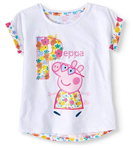 Pig Floral (Peppa Pig Toddler Girls Floral Back T-Shirt w/Roll Cuff Sleeves (2T))