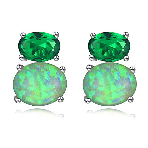 - CiNily Green Fire Opal Green Quartz Stud Earrings for Women Sterling Silver Plated Birthstone Earrings Gemsone Stud Earrings