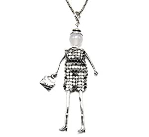 SP16b-Muñeca articulada de salto-Collar con colgante para mujer con cadena de metal con diseño de moda
