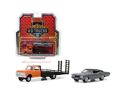 Greenlight NEW DIECAST TOYS CAR 1:64 HD TRUCKS SERIES 12-1972 CHEVY C-30 RAMP TRUCK WITH 1968 CHEVROLET IMPALA ()