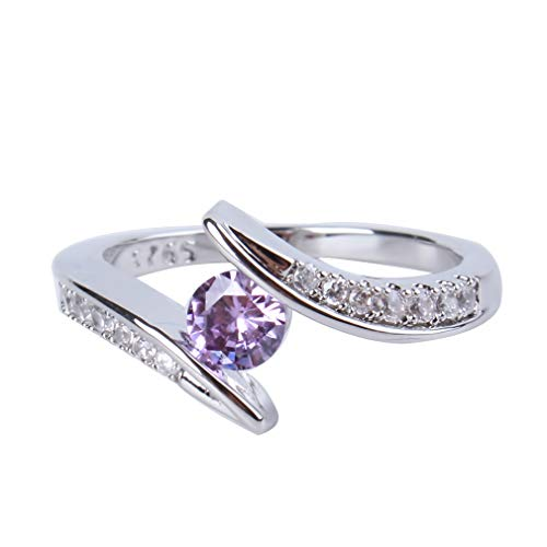 SOURBAN Women's Colorful Zircon Rings Retro Exquisite Rhinestone Ring Round Cut Band Rings,purpleSize 1