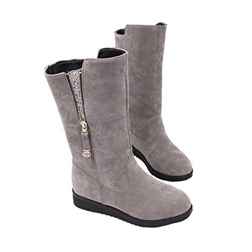 de Botas los la a piel las Ouneed Forme nieve zapatos ocasionales botas las de Gris Mujer la de señoras ® calientan mujeres calientes SWqHSr