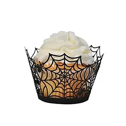 (LUOEM 50Pcs Halloween Party Spiderweb Laser Cut Paper Cupcake Wrappers Birthday Party Cake Wrappers Baking Cup Case for Wedding Birthday Halllween Party Decor (Black))
