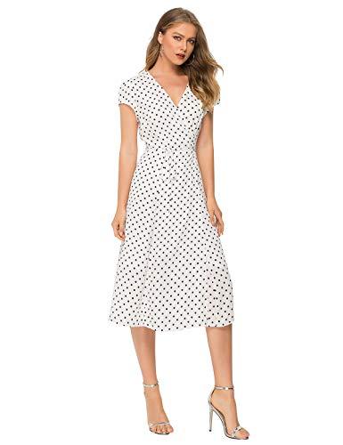 Escalier Women's Floral Wrap Dress Split V Neck Tie Front Chiffon Party Midi Dresses Polka Dots 1X