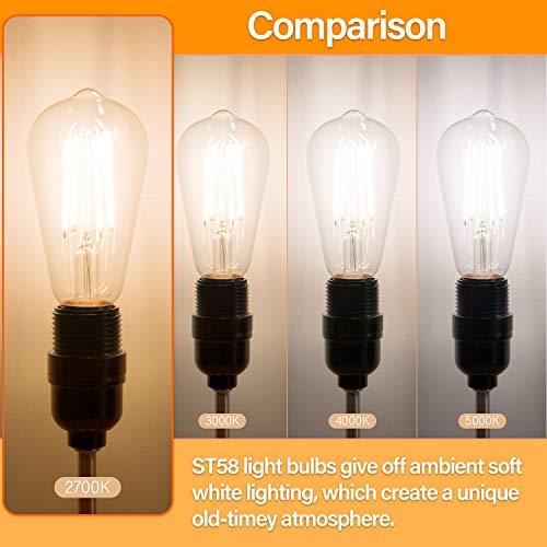 12Pack Vintage LED Edison Light Bulb, Equivalent 60 Watt, 6W ST58 Warm White 2700K, E26 Medium Base,800 lumens High Brightness Antique LED Filament Bulbs, CRI 85+, Non-Dimmable, Clear Glass,Pack of 12