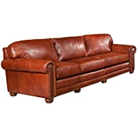 Omnia Leather Dominion 3 Cushion Sofa in Leather, with Nail Head, Eugene Brick