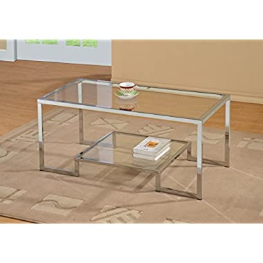 Chrome Metal Glass Accent Coffee Cocktail Table with Shelf