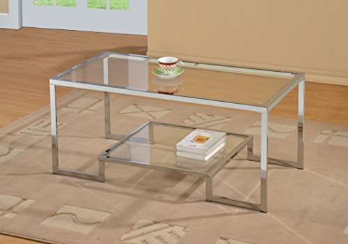 Chrome Metal Glass Accent Coffee Cocktail Table with Shelf (Chrome Coffee Table)
