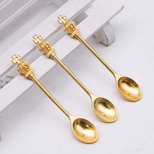 JETEHO 30 PCS Gold Tone Crown Spoon Charms Pendants