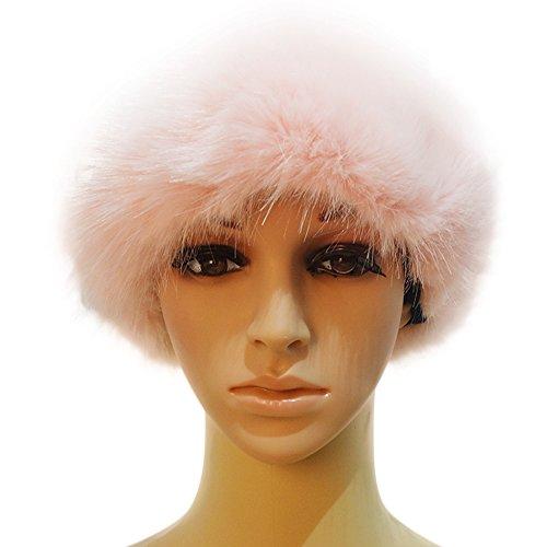 Manka Vesa Faux Fox Fur Winter Earwarmer Earmuff Ski Warm Russian Headband Beret Hat Light Pink