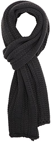 Simplicity Men/Women Solid Color Cable Stripe Knit Winter Fall Scarf Dark Grey