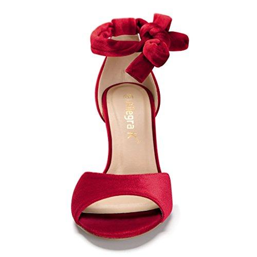 Allegra Bright Sandals Red up Women Lace K Stiletto Velvet 7P7Zrq