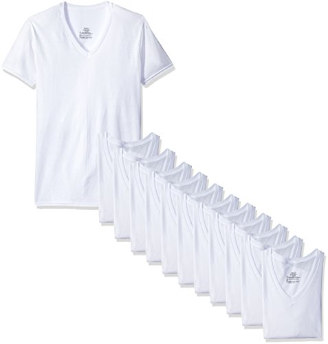 Hanes Men's 12-Pack FreshIQ V-Neck T-Shirt, White, Small