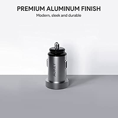 AUKEY 24W/4.8A Dual-Port USB Car Charger, Aluminum Alloy Finish for iPhone Xs/XS Max/XR/X/8, iPad Pro/Air 2/Mini, Bluetooth Headphones & Speakers,Samsung Galaxy Note9 and More: Home Audio & Theater