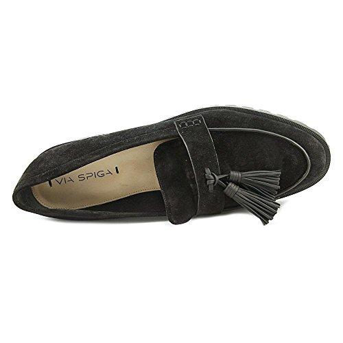 On Platform Slip Loafer Black Tassel Giada Women's Spiga Via qawxgf
