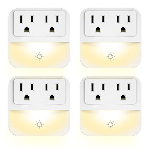 (Plug-in Night Light with 2-Outlet Extender, POWRUI Warm White LED Nightlight with Dusk-to-Dawn Sensor for Bedroom, Bathroom, Kitchen, Hallway, Stairs, 4-Pack)