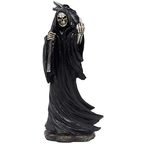 Evil Grim Reaper Flipping The Middle Finger Statuette with Dragon Head Scythe for Scary Halloween Decorations and Horror Movie Gothic Décor Figurines or Fun Gag Gifts for Man -