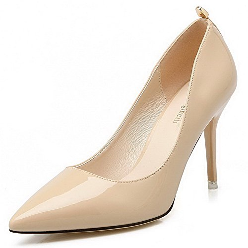 Womens Pointed Stiletto PU Fashion Pumps with Rivets Apricot - 8
