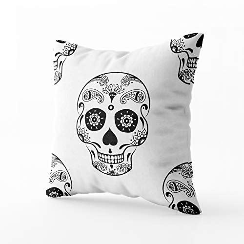 (GROOTEY Square Pillowcase with Zip for Easter Couch Sofa Décor Pattern Black Sugar Skull Doodle Floral White Background Coloring Page Book Mexican Day The 20X20Inch Throw Pillow Covers)