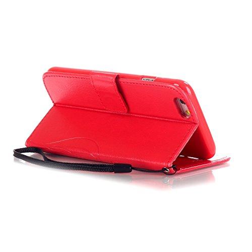 IPhone Case 7, Papillon Et Fleur Embossing Premium Housse En Cuir PU Housse Magnétique Portefeuille Stand Case Case Folio Avec Bling Diamant Résine Rhinestone Décor Pour IPhone 7 ( Color : Red )