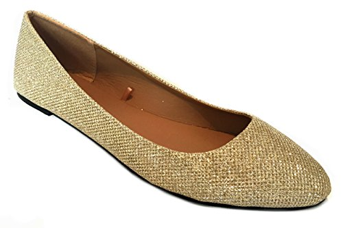 Leopards Womens Ballerina 18 Gold amp; Solids Shoes Glitter Flat Shoes Ballet F58qxw5S