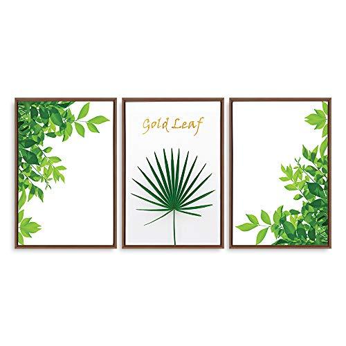 Framed for Living Room Bedroom Green Plants Theme for ation x3 Panels