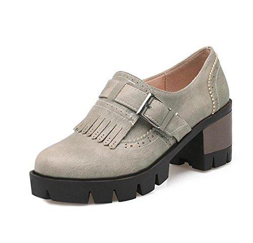 XIE Retro Talón Plano Cinturón de Hebillas de Cinturón borlas Zapatos de Corte, 37 GRAY-42