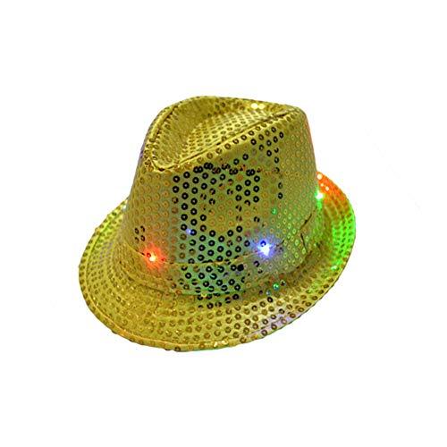 lightclub Adult Kids Fashion LED Light Up Flashing Sequins Solid Color Dance Party Hat Cap Golden -