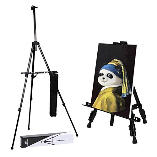 (Transon Aluminum Art Easel Stand for Table and Floor 21 to 65 inch Lightweight Adjustable with Portable Bag(Black))