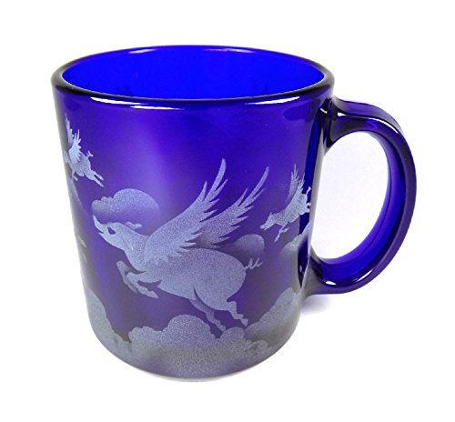IncisoArt Hand Etched Coffee Mug Sandblasted (Sand Carved) Glass Handmade Engraved (Pigs Flying Over Clouds, 13 Ounce Cobalt Blue) - Flying Pig Art