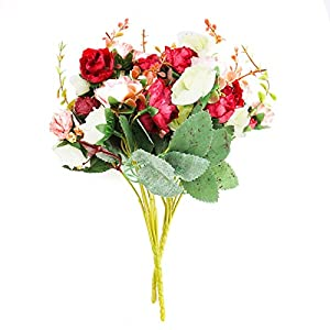 WSSROGY 7 Branch 21 Heads Artificial Lifelike Fake Flowers Leaf Rose Wedding Home Office Floral Decor Bouquet(2Pcs) 66