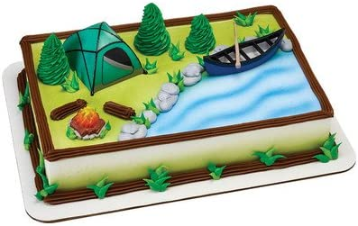 Astonishing Camping Birthday Cake Kit Tent Canoe Campfire Amazon Ca Home Personalised Birthday Cards Cominlily Jamesorg