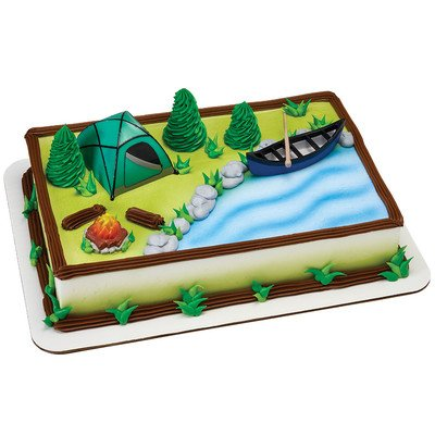 Amazon Camping Birthday Cake Kit Tent Canoe Campfire Kitchen Dining