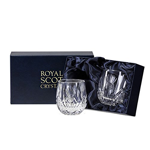 Royal Scot Crystal Scottish Thistle Hand Cut Glass Whisky Barrel Tumblers Set of 2 in Presentation Box 8floz