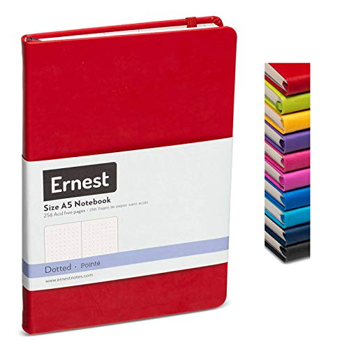 Ernest Classic Hardcover Notebook/Journal Red-Dotted, Premium Ivory Paper, Expandable Inner Pocket, Organizational Stickers (red, dotted)