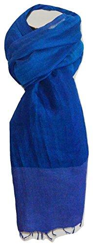 - Handcrafted Twill Weave Linen Fabric Gauze Scarf. (Cobalt Blue).X2267