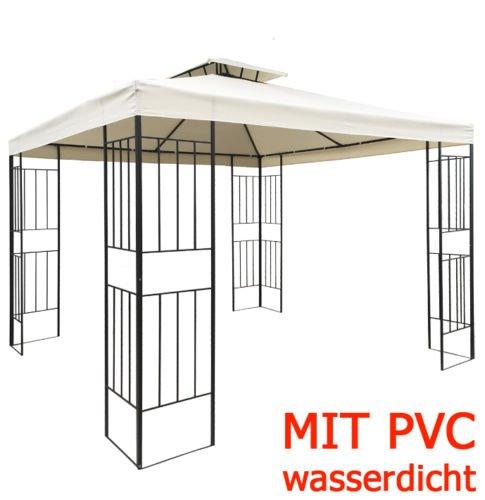WASSERDICHT #beige Pavillon Borneo ~3x3m wasserfest Metall Pavilllion m. Dach