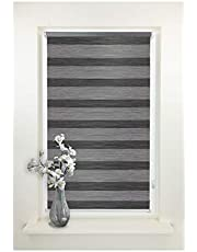 WYMO Econo Zebra Blinds for Windows - White Color Horizontal Blinds and Shades Day and Night - Light Filtering Roller Shades Easy Installation