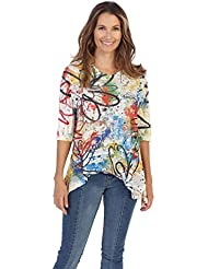 Jess & Jane Womens Scribble Wave Jersey Tunic Top