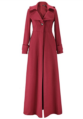 Tengfurich Tengfu Women's Winter Elegant Full Length Slim Fit Wool Long Trench Coat Jacket (XXL/US 10-12, (Full Length Winter Coats)