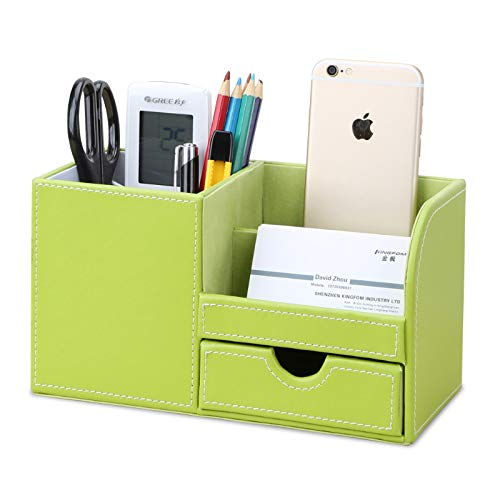 KINGFOM Wooden Struction Leather Multi-Function Desk Stationery Organizer Storage Box Pen/Pencil,Cell Phone, Business Name Cards Remote Control Holder with Small Drawer Green