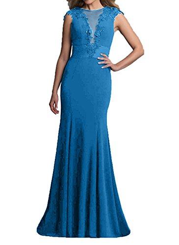 Langes Blau Abendkleider Damen Spitze Satin Charmant Partykleider Schwarz Promkleider Abschlussballkleider qw4pExgC