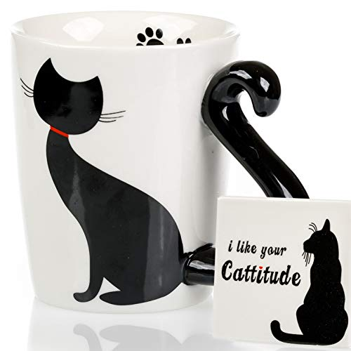 Cat Mug & Coaster Set - Unique Hand Painted Novelty 3D Black Kitty Ceramic Coffee Mugs. Includes Cute Coaster With a Fun I Like Your Cattitude Phrase. Cool tea cup or Kitchen Bedroom Decor