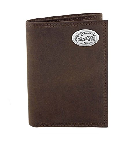 NCAA Florida Gators Light Brown Crazyhorse Leather Trifold Concho Wallet, One (Florida Gators Light)