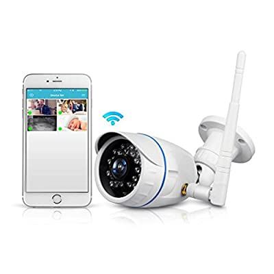 Wireless Outdoor IP Security Camera - Weatherproof HD 720p Home WiFi Surveillance Internet Video w/Built in16g SD Storage