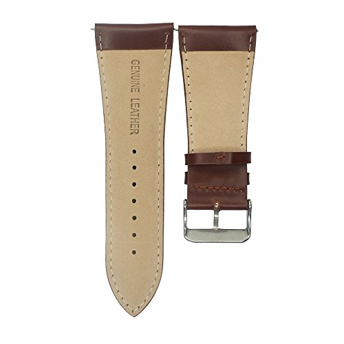IVAPPON 32mm Leather Watch Band, YQI Men's Solid Color Genuine Leather Watch Strap (Black) by IVAPPON (Image #1)